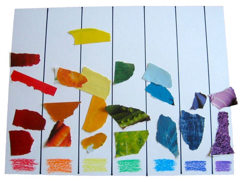 Great ideas teaching about rainbows for preschoolers i for Color collage ideas