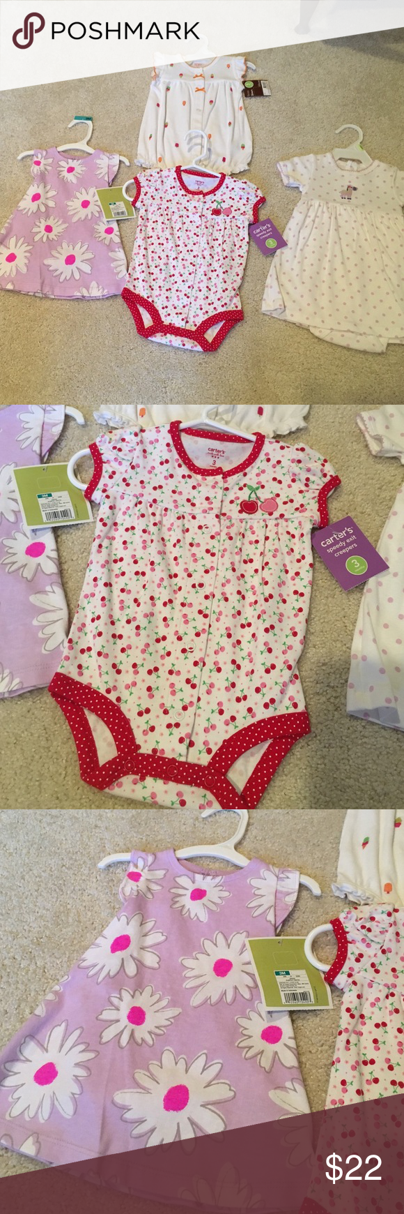 3 month Girls - 2 dresses and 2 Rompers 3 month Girls - 2 dresses and 2 Rompers - all NWT - 3 Carter's Brand and purple flower dress is Circo Carter's Dresses Casual