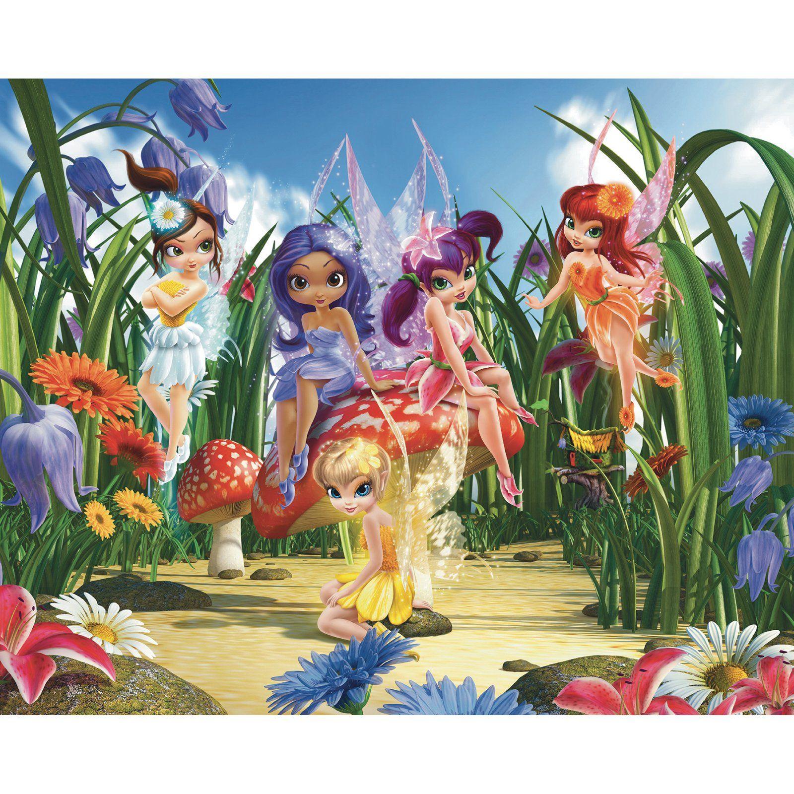 Walltastic Magical Fairies Wall Mural  Fairy wallpaper, Wall
