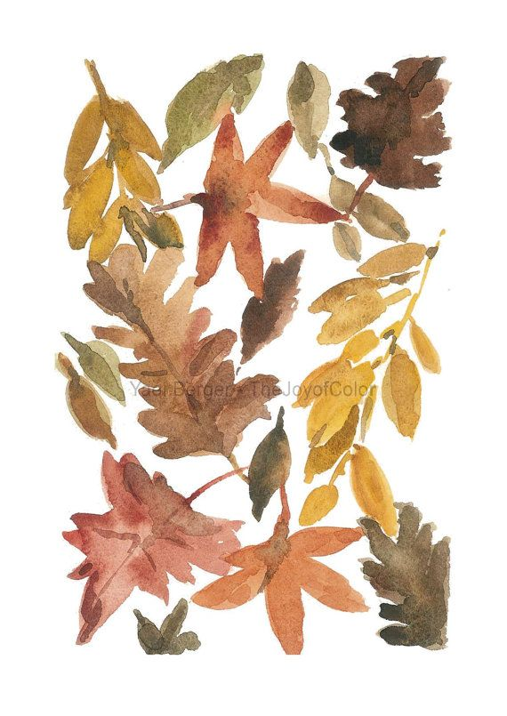 Art print All the leaves are Brown, autumn leaves watercolor ...