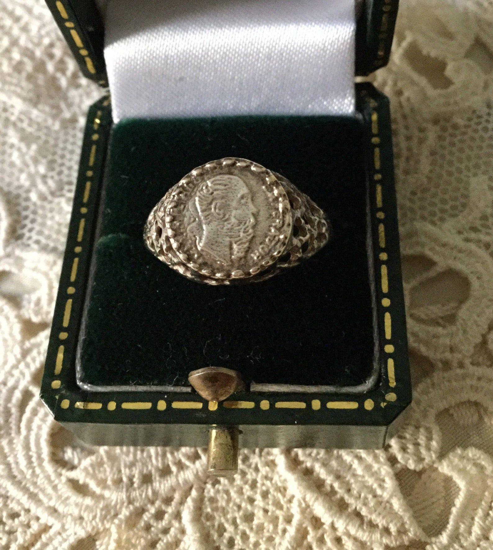 Genuine Antique Old Corner Peso Silver Ring Very Original Emperor Maximiliano Silver Corner Peso Hallmark Silver Vintage Ring From France Bague Argent Pierre Precieuse Et Etsy