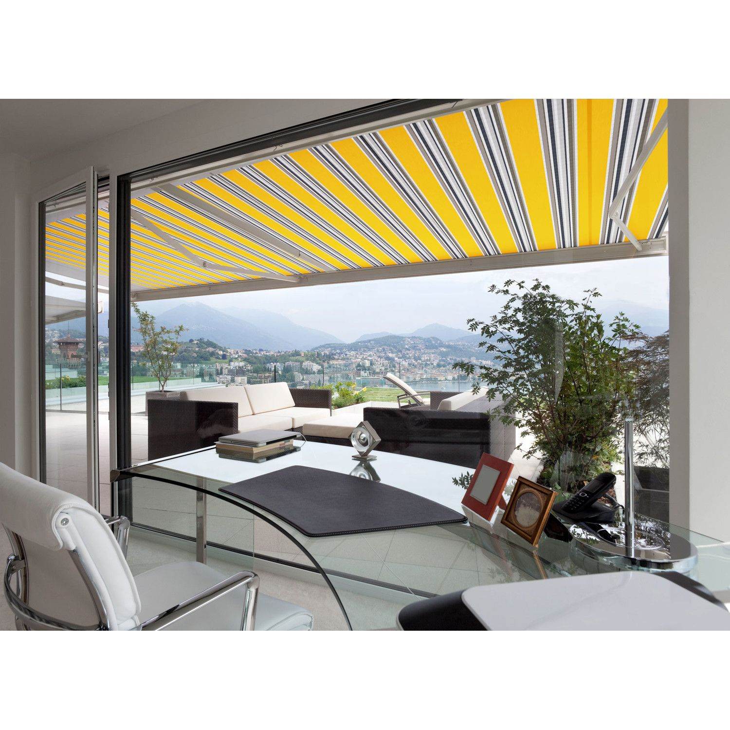Luxury Series Electric Retractable Standard Woven Acrylic Patio Awning Patio Patio Awning Pergola