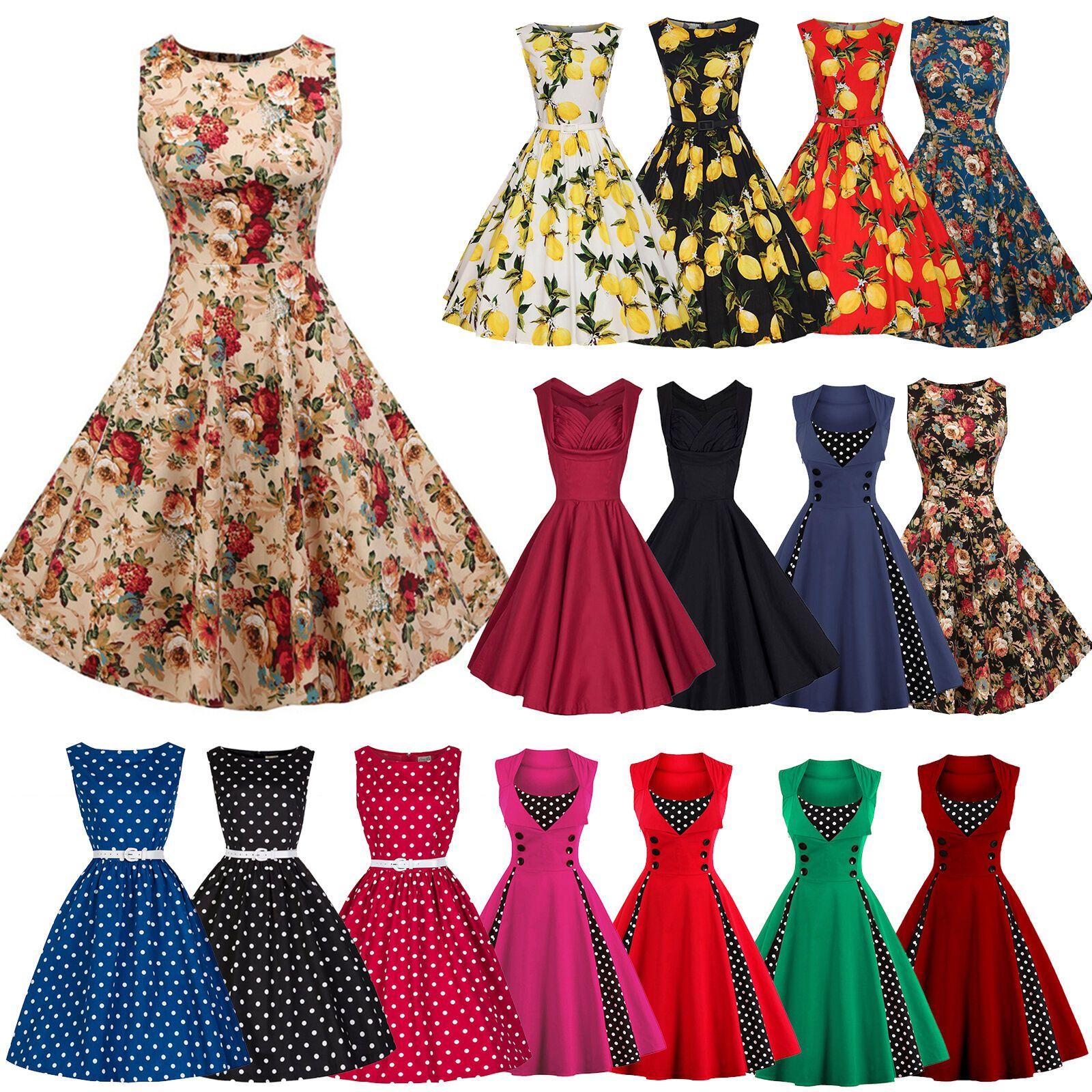 Womens Retro 50s Rockabilly Hepburn Swing Skater Dress Evening Party Dresses