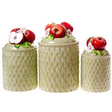Ceramic Apple Canisters Ceramic Apple Apple Kitchen Decor Apple Decorations