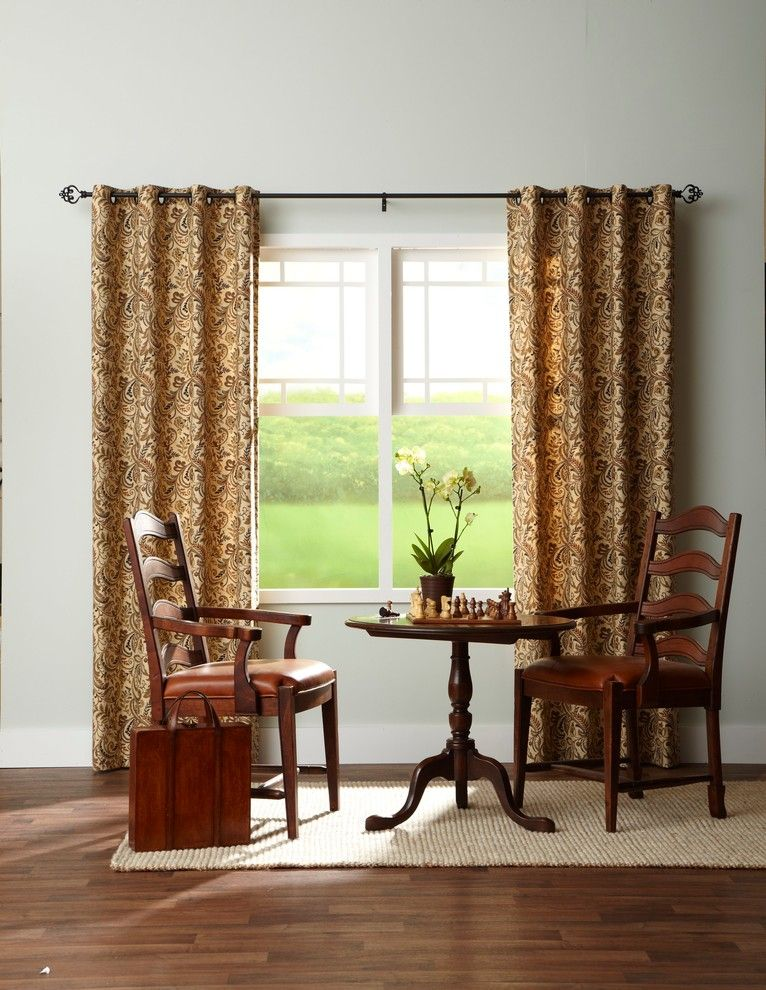 Half Window Curtain In Yellow With Motifs Black Rods Pull Up White Trims A Pair Of Wooden Chairs Round Center Table Rug Medium