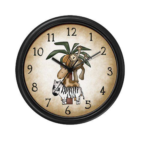 Lightweight Black Plastic Framed In The Jungle Animals Wall Art Clock 10 By Sagart Llc 23 99 Decorate Any Room In Your Ho Clock Wall Clock Kid Room Decor