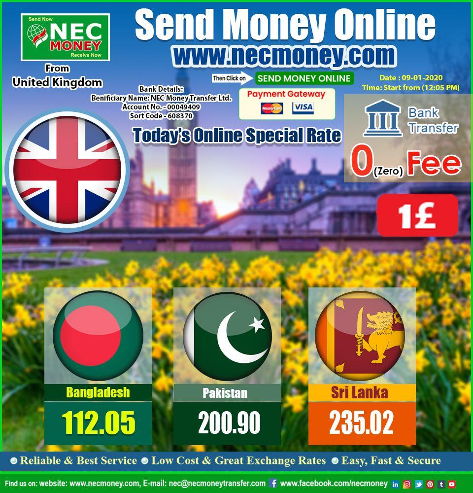 Today's Online Rates For Bangladesh, Pakistan, Srilanka
