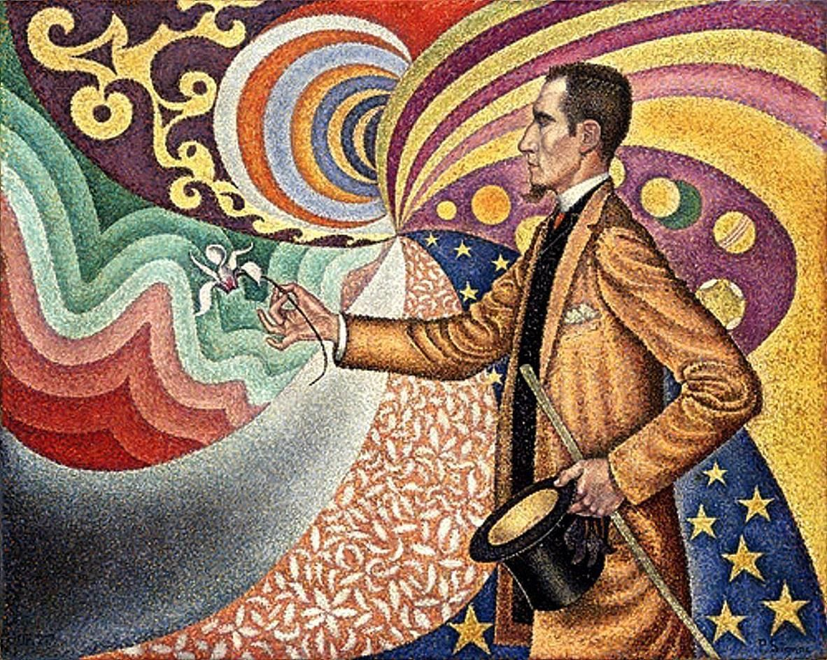 Paul Signac (French, 1863-1935) Opus 217: Portrait of M. Félix Fénéon against the Enamel of a Background Rhythmic with Beats & Angles, Tones, & Tints (1890) Oil on canvas, 73.5 x 92.5 cm. Museum of Modern Art, New York (Gift of Mr. & Mrs. David Rockefeller)