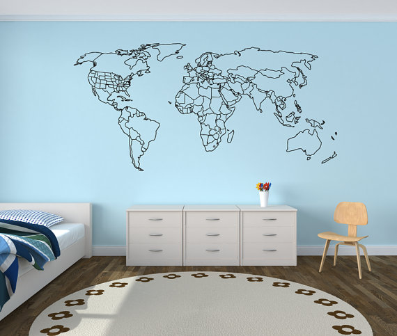 Large world map wall decal with outlined countries and united states large world map wall decal with outlined countries and united states world map sticker world map gumiabroncs Image collections