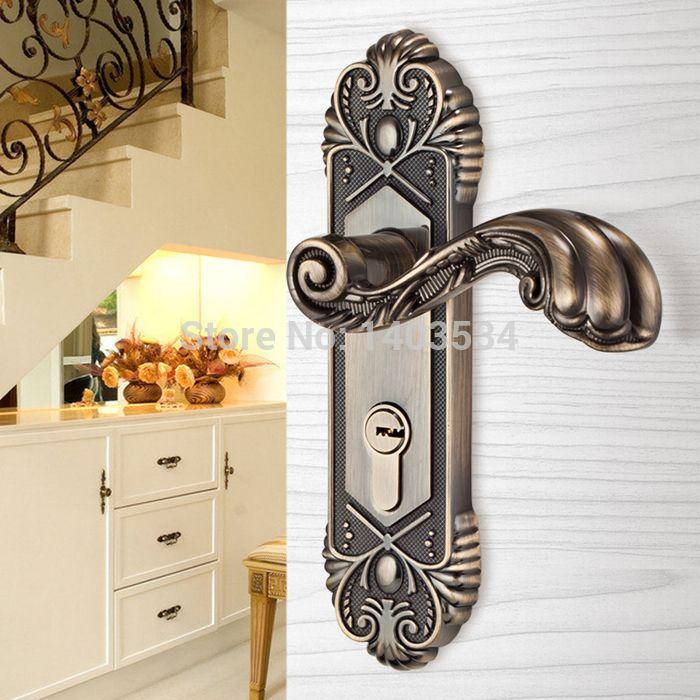 European antique brass Bedroom door locks Wooden doors lock indoor door locks kitchen bathroom door lock