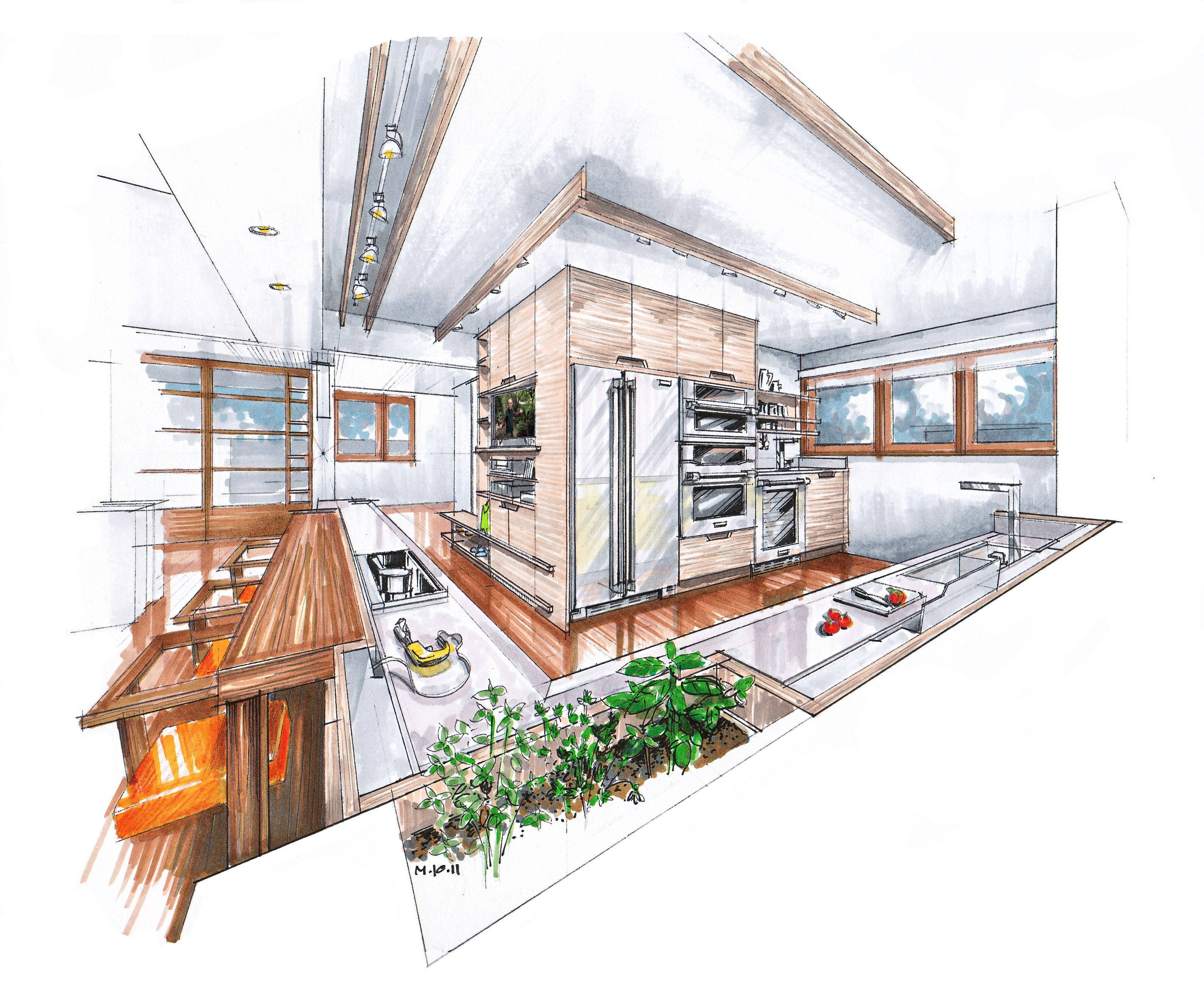Rendering by mick ricereto bocetos dise o pinterest for Bocetos de disenos de interiores