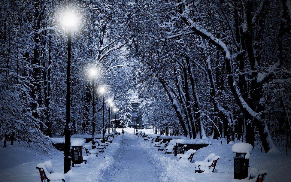 hiver, bancs, personne, neige, crépuscule, parc, lampes Wallpaper | Photo  hiver, Paysage hiver, Paysage hivernal