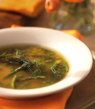 leap-friendly chicken stock + dill + asparagus + green pea