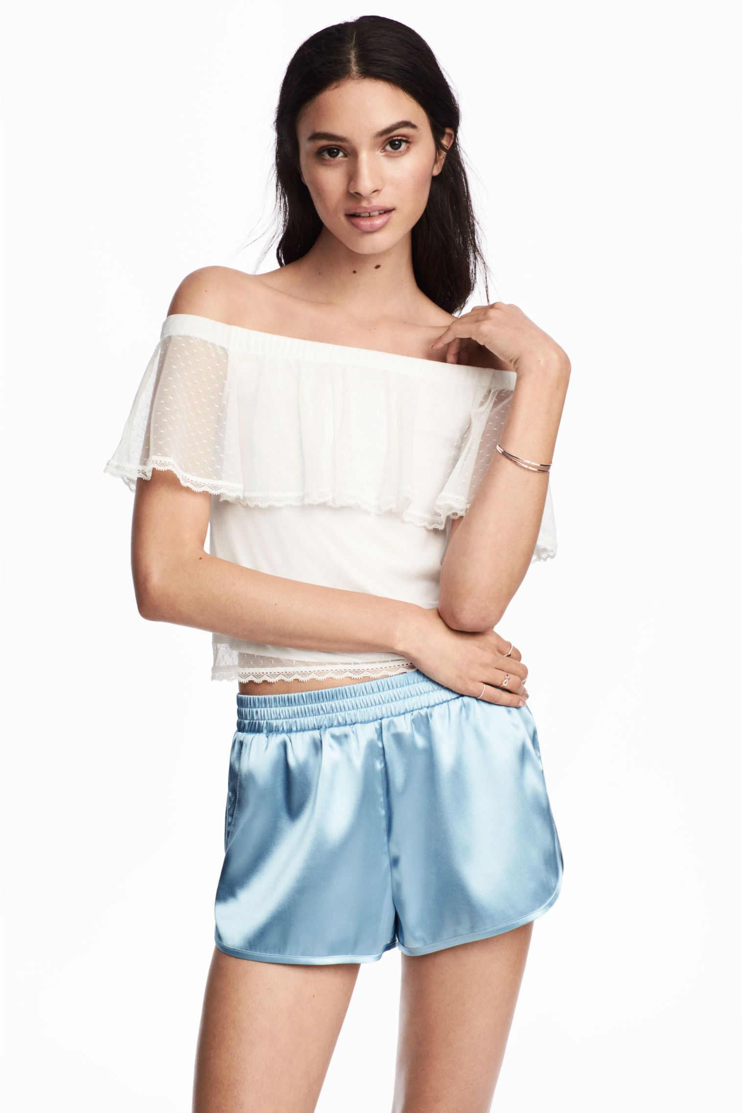 323e82f8694 Spotted mesh top - Natural white - Ladies | H&M GB