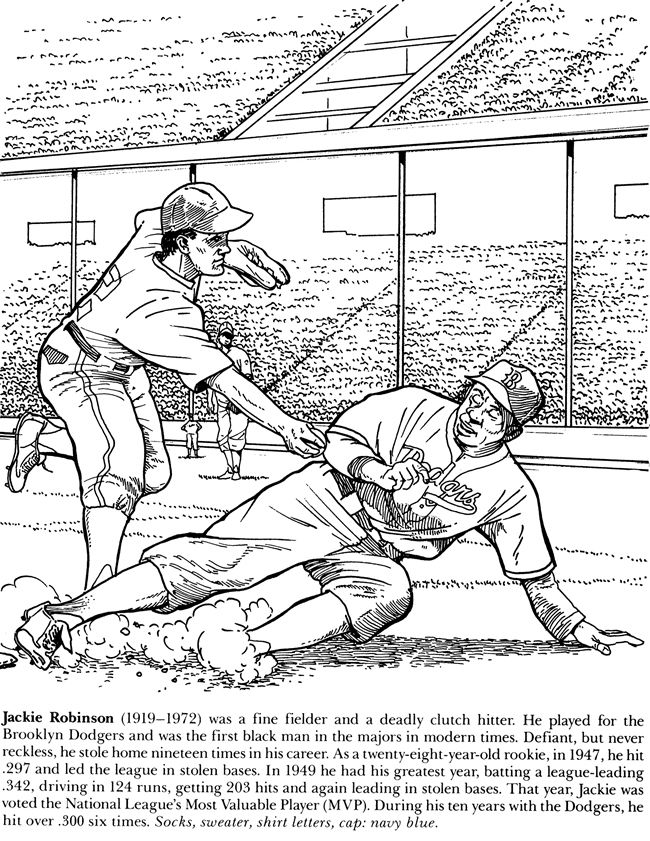 Welcome To Dover Publications Jackie Robinson Coloring Pages Baseball Coloring Pages