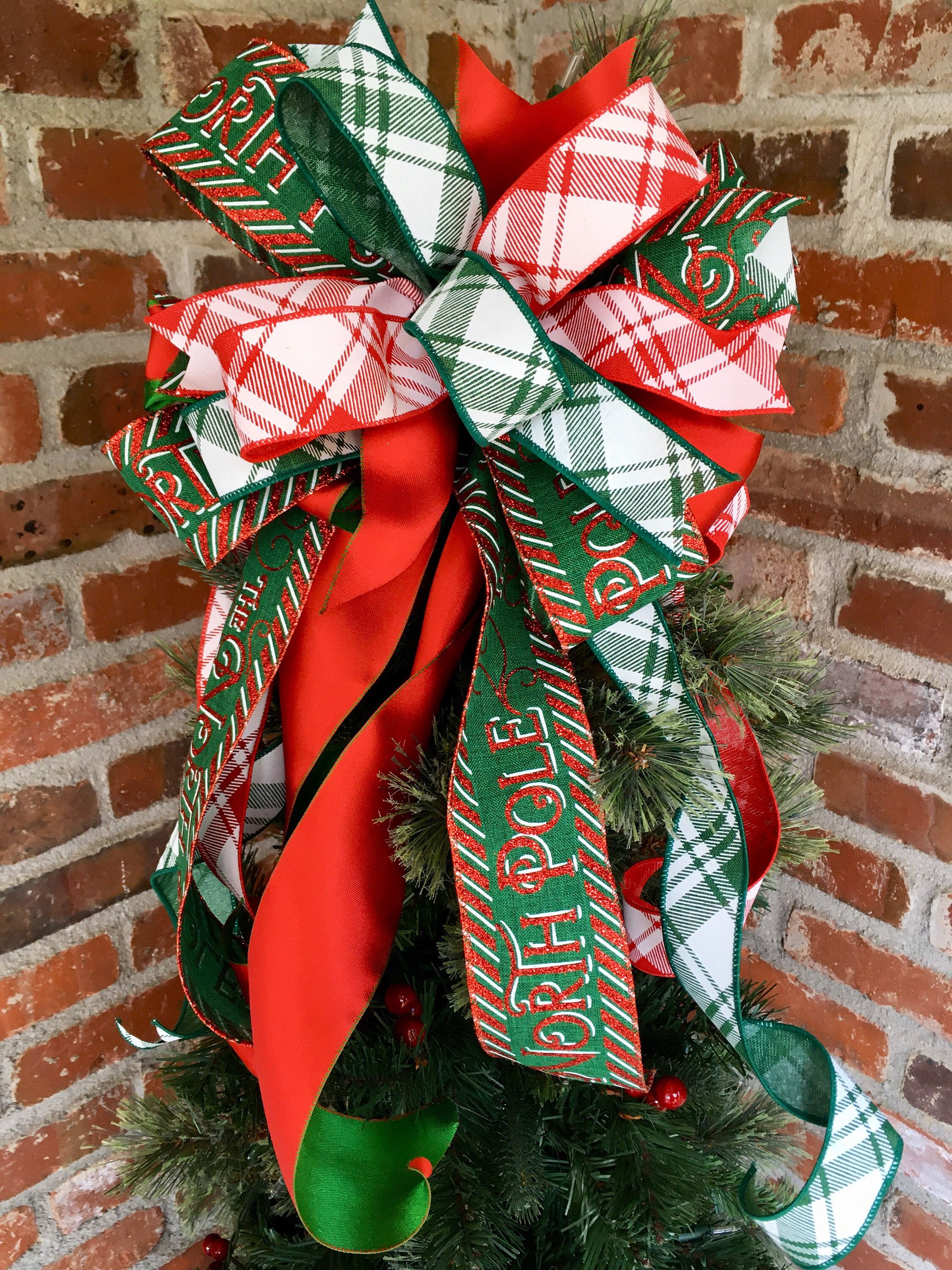 Christmas tree topper bow; red and green Christmas bow
