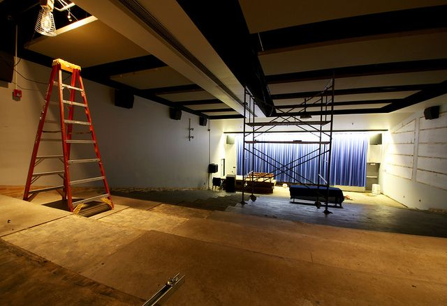 "June 5, 2012: ""Room for Renovation."" Bulldog Theater, an event space in the basement of the #DrakeUniversity Olmsted Center, is in the midst of a major renovation this summer."