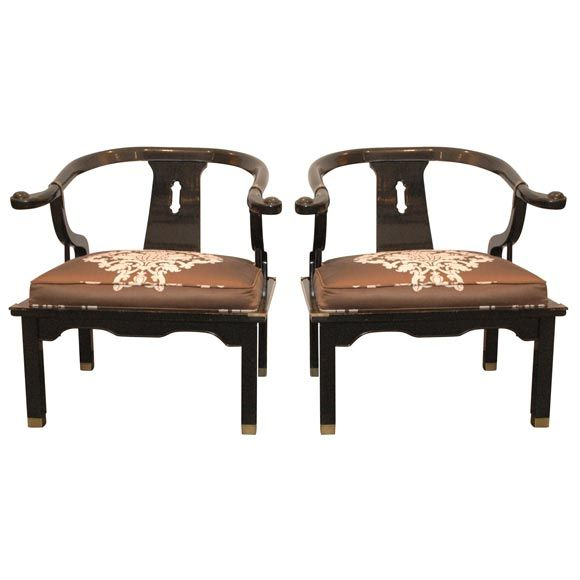 1stdibs James Mont Style Lacquered Asian Chairs