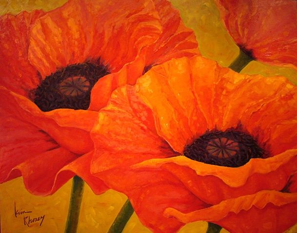 Large Red Orange Poppy Print Gold Background