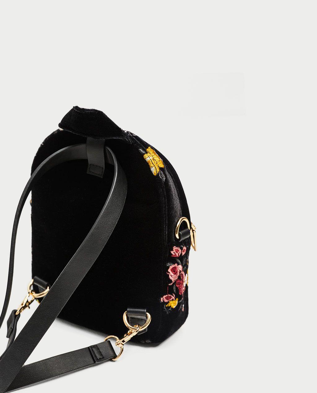 image 4 de mini sac dos en velours brod de zara sac. Black Bedroom Furniture Sets. Home Design Ideas