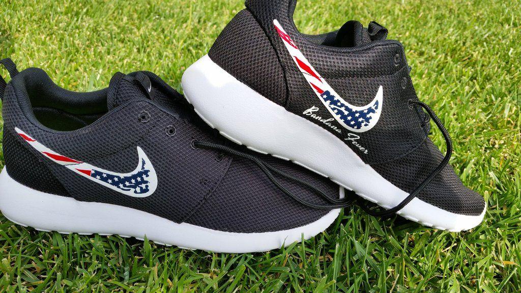 4935dc48b887 Bandana Fever Distressed American Flag Black Nike Roshe Shoes Size ...