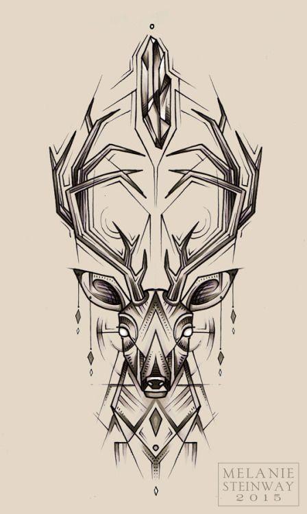 Geometric Deer Head Tattoo Design Idea Deer Tattoo Geometric Deer Geometric Tattoo