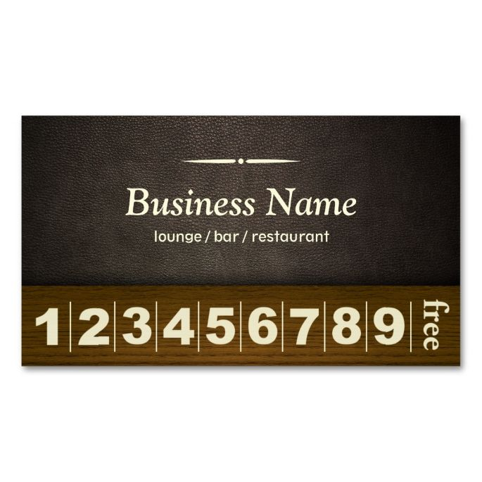 Coffee Lounge Bar Leather Wood Loyalty Punch Business Card - Business loyalty card template
