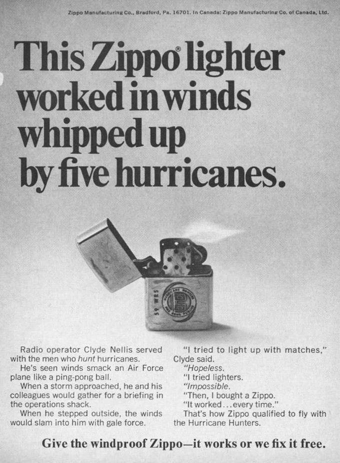 Vintage Zippo Advertisement From 1972 This Zippo Lighter Worked In Winds Whipped Up By Five Hurricanes Zippo Lighter Zippo Cool Lighters