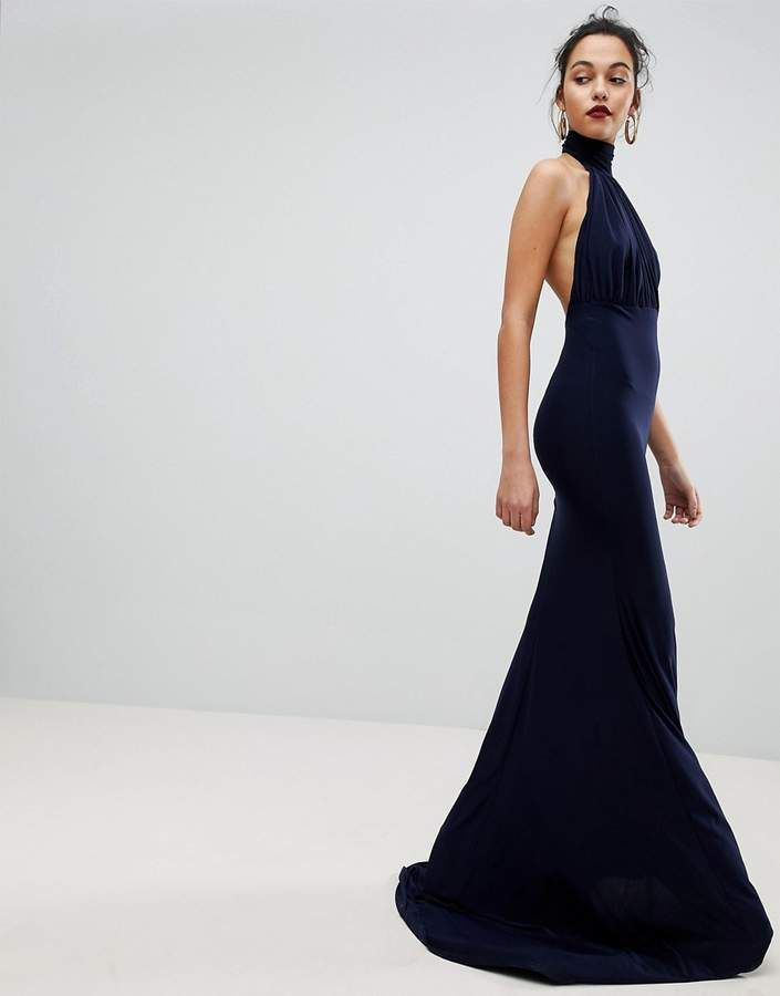 Club L Bridesmaid Halterneck High Neck Fishtail Maxi Dressprom