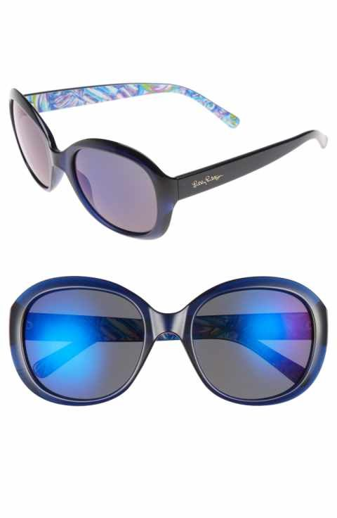6c6a0a1b26 Lilly Pulitzer® Magnolia 57mm Polarized Round Sunglasses ...