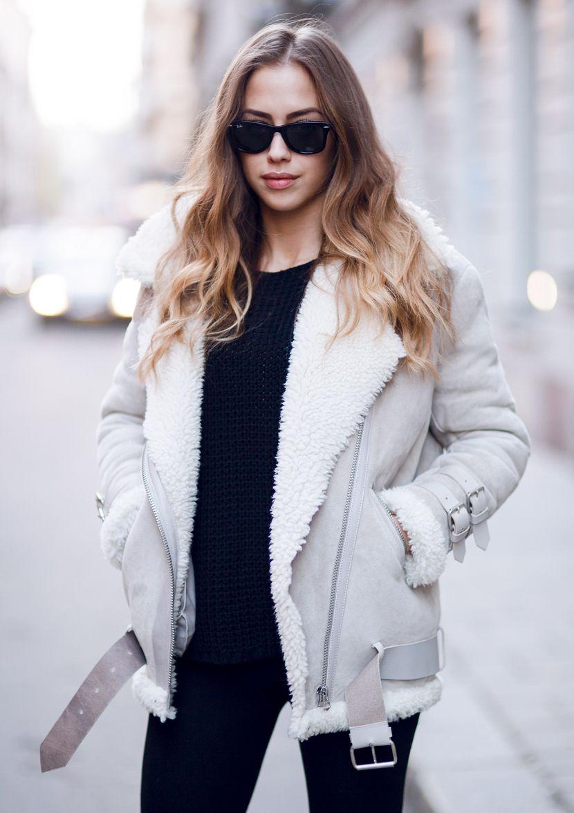 kenza zouiten // acne lamb wool winter jacket