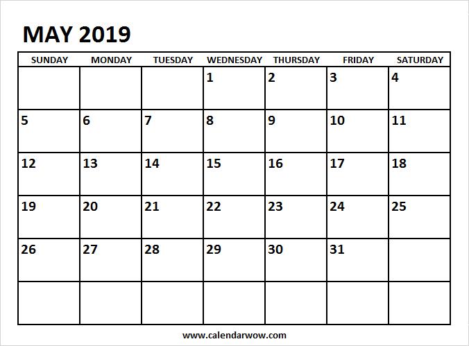May 2019 Calendar Printable 2019 Calendar Pinterest Calendar