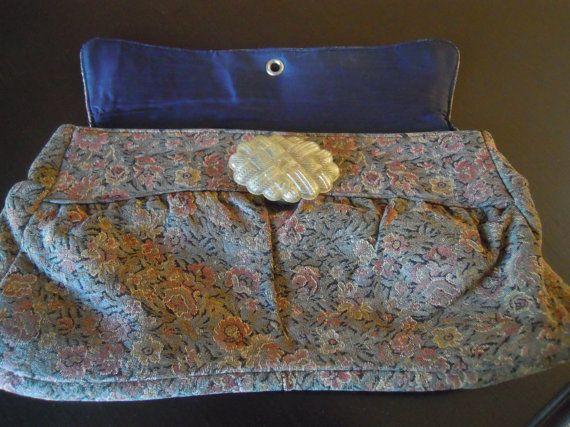 Charming Vintage Tapestry Clutch Handbag 1950s Purse by TallulahsVintage