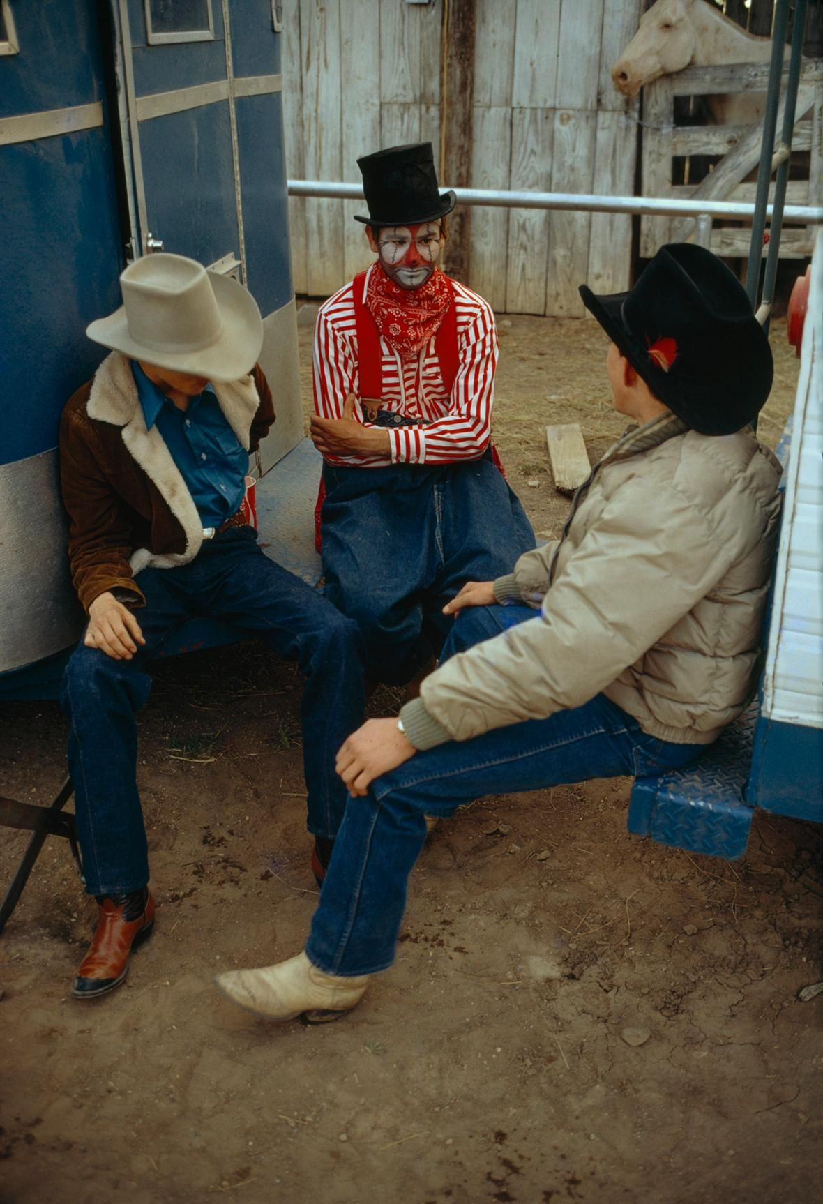 Picture of a rodeo clown & cowboys, Wyoming, USA