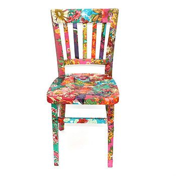 Decoupage fabric covered chairs...ok this rocks!