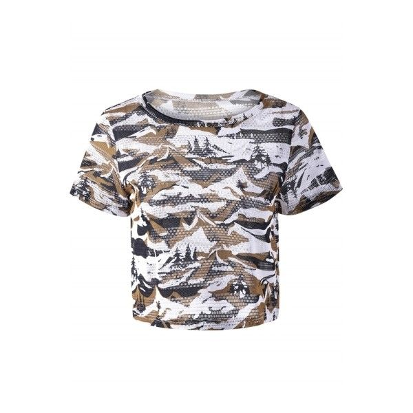 Women's Casual Short Sleeve Camouflage Crop Top Tee ($16) ❤ liked on Polyvore featuring tops, t-shirts, white, sweater pullover, white pullover, crop top, camo tee and camo crop tops