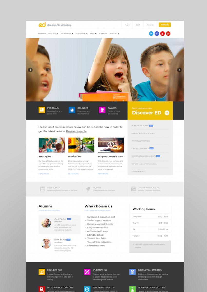 Ed School Education Web Design Inspiration Education Wordpress Themes School Site