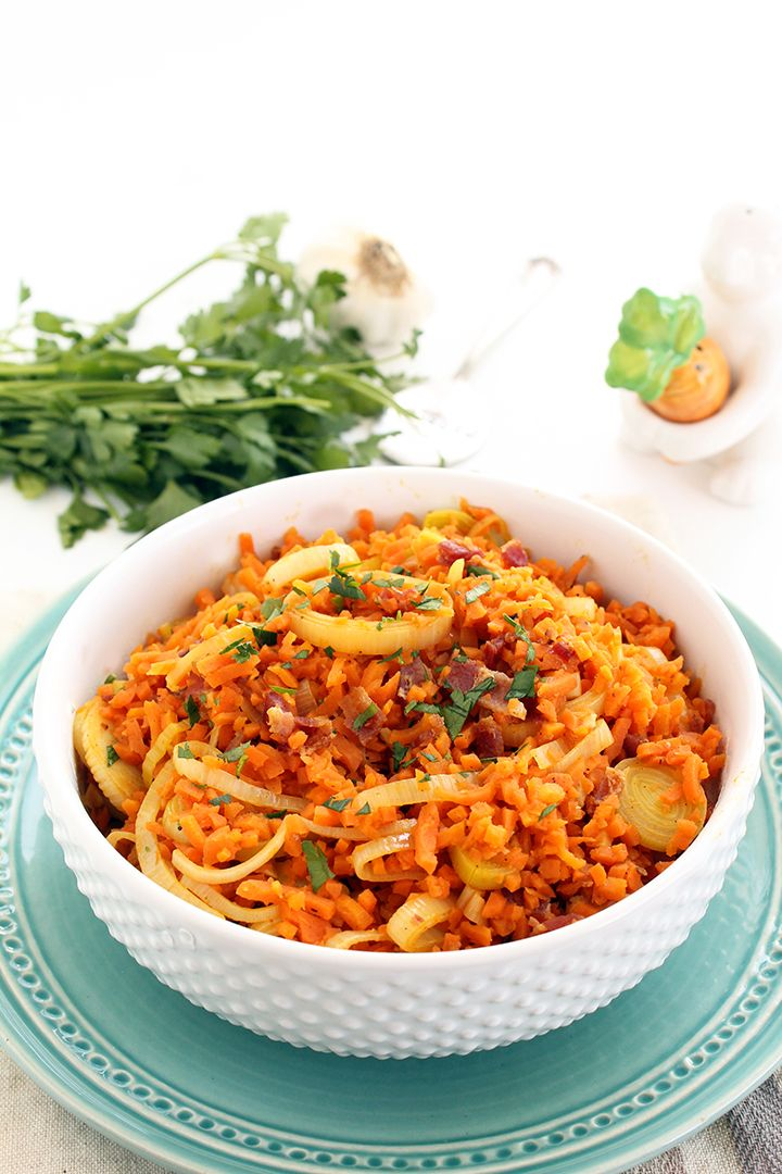 """Carrot """"Rice"""" Leek Risotto with Bacon"""