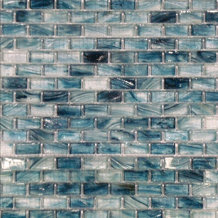 Sample Red Brown Mini Brick Crystal Glass Mosaic Tile: Ice Glass Blue Cotton