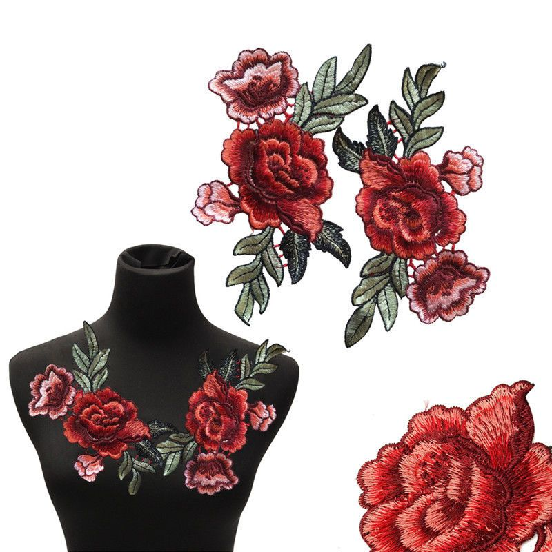Fabric Flower Embroidered Neckline Red Rose Blossom Applique Embroidery Patch