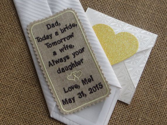Custom Embroidered Linen Wedding Tie Patch. Father of the Bride Gift ...