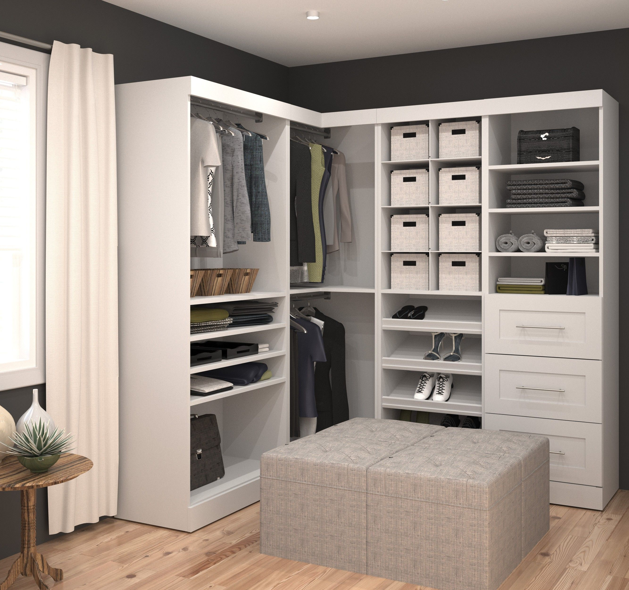 """Pure White 82"""" Corner Open Storage Unit With 3 Drawers ..."""
