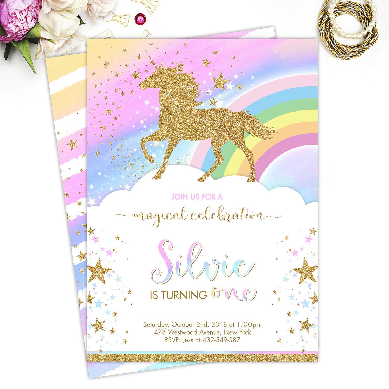 Unicorn Birthday Invitation, Printable Unicorn Invitation, Magical ...