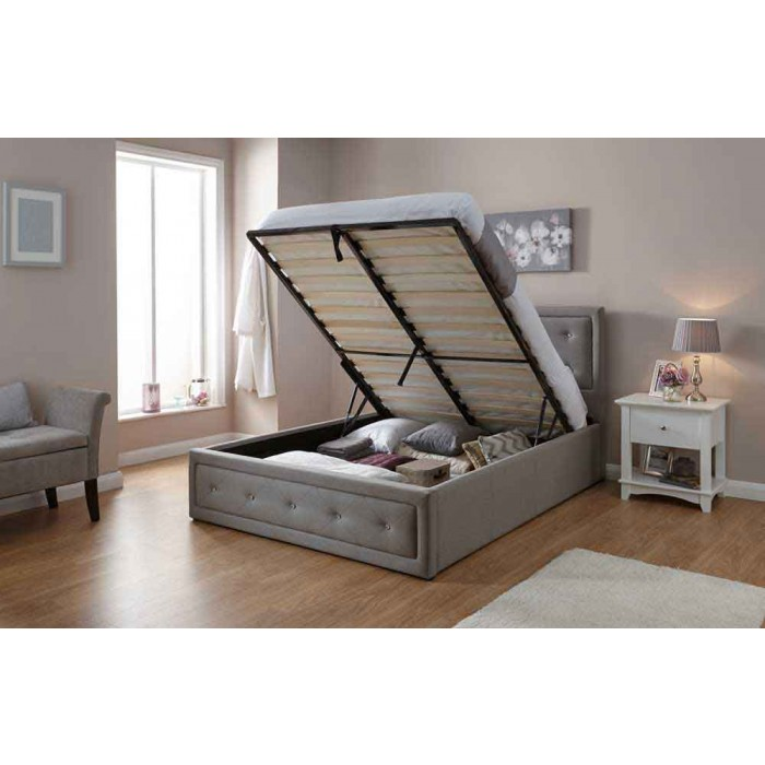 Hollywood Ottoman Bed 150 Cm Stone In 2020 Ottoman Bed Cosy Bed