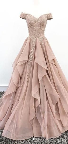 Off Shoulder Dusty Champagne Lace Cheap Long Evening Prom Dresses, Evening Party Prom Dresses, 18627