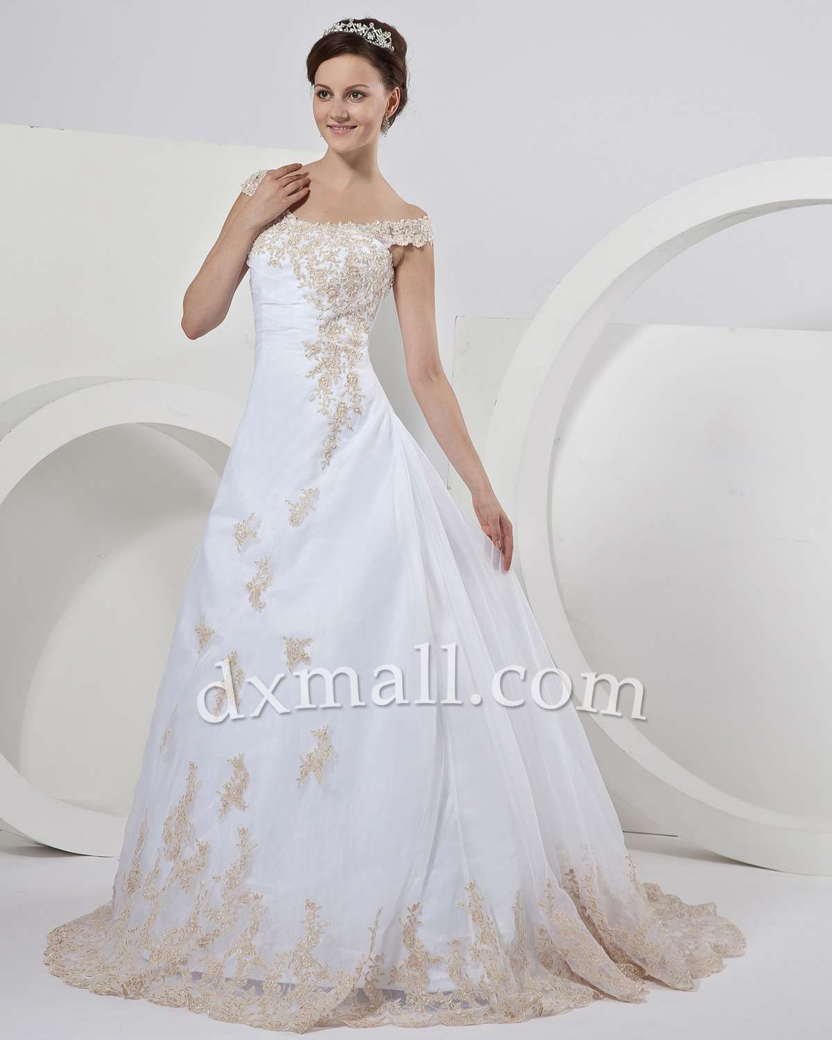 Wedding dress with straps  Aline Wedding Dresses Straps Court Train Organza Satin White