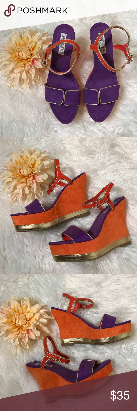 Jennifer Lopez Orange Purple Gold Wedges Love the orange purple suede mix with metallic gold on these wedge platform sandals! These are comfortable fun and sexy! You will love them! NWOT Jennifer Lopez Shoes Wedges