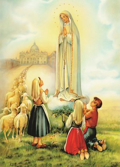 Poster Nossa Senhora De Fatima Visao Com Imagens Pastorinhos
