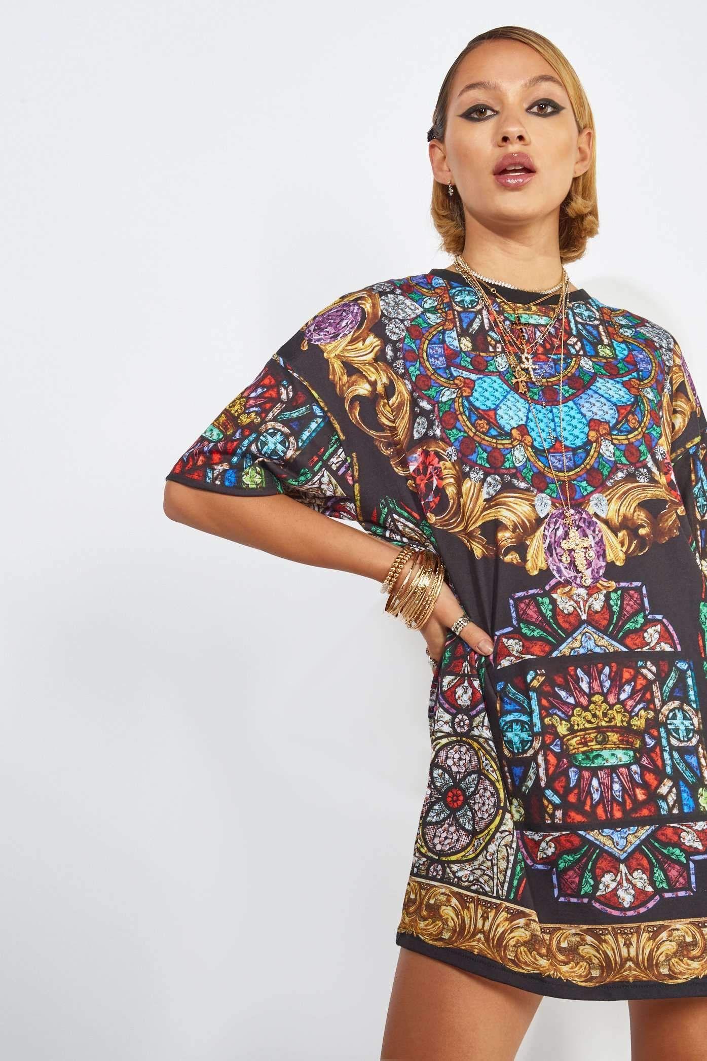 435b5fbe4cb Stained Glass Window Print Oversized T-Shirt Dress | Jaded London ...