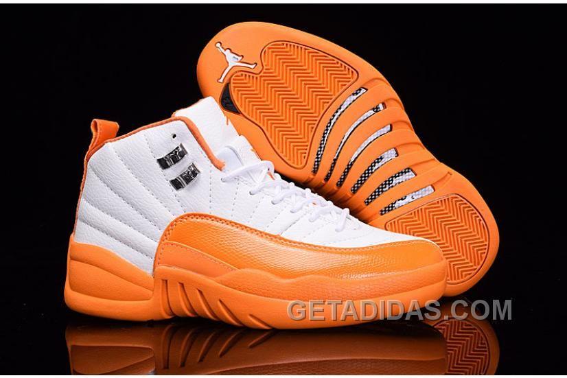 """006f5359c9ce 2016 Air Jordan 12 GS """"The Glove"""" White Orange For Sale The Air Jordan"""